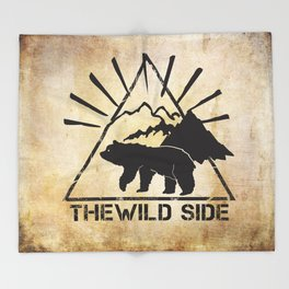 Bear on the Wild Side of the Forest Throw Blanket