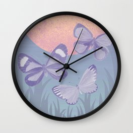 Moonrise Meadow Butterflies Wall Clock
