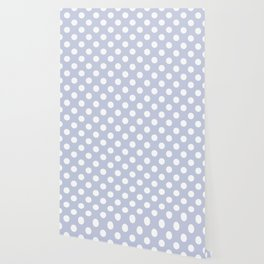 Light periwinkle - grey - White Polka Dots - Pois Pattern Wallpaper