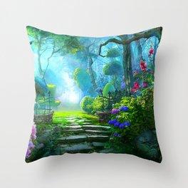Fascinating Gorgeous Idyllic Dreamy Magic Garden UHD Throw Pillow