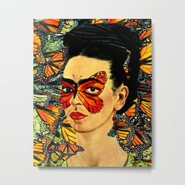 Frida Kahlo with Monarch Butterflies Metal Print