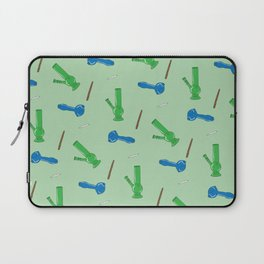 Bongs, Blunts, Joints Pattern Green Laptop Sleeve