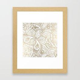 Elegant hand drawn white faux gold luxury floral Framed Art Print
