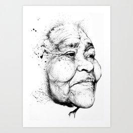 """Gabriela"" of the Kaweskar People B+W Art Print"
