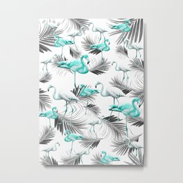 Winter Flamingo Palm Vibes #1 #tropical #decor #art #society6 Metal Print