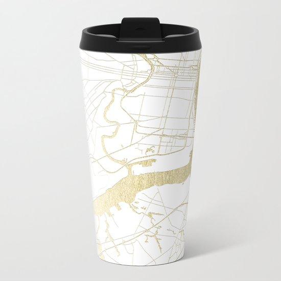 Philidelphia - White and Gold Metal Travel Mug