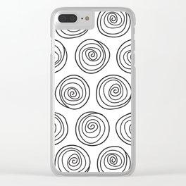 Hand Drawn Spirals Pattern (white) Clear iPhone Case