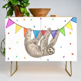 Sloth with Bunting #1 Credenza