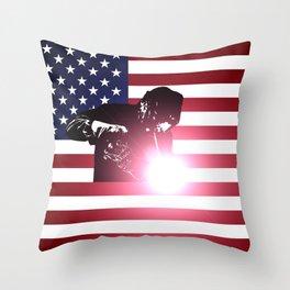 Welding: Welder & American Flag Throw Pillow