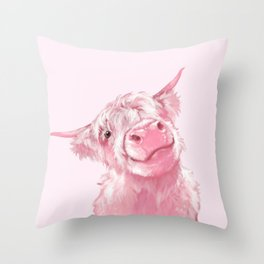 Highland Cow Pink Throw Pillow