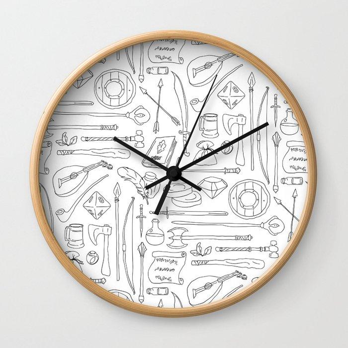 Fantasy Adventuring Equipment Wall Clock