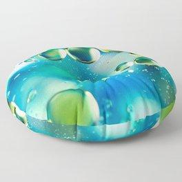 Macro Water Droplets  Aquamarine Soft Green Citron Lemon Yellow and Blue jewel tones Floor Pillow