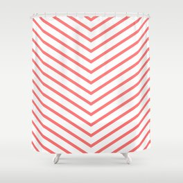 Red lines. Geometric design Shower Curtain
