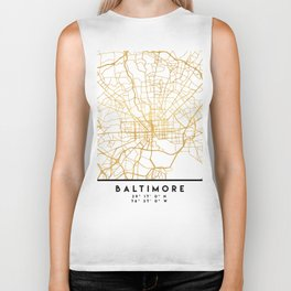BALTIMORE MARYLAND CITY STREET MAP ART Biker Tank