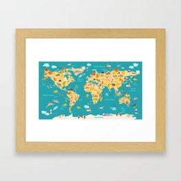 Animal map for kid. World vector poster for children, cute illustrated Framed Art Print