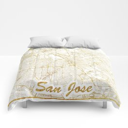 San Jose Map Gold Comforters