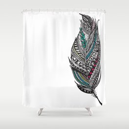 Single Aztec Feather  Shower Curtain