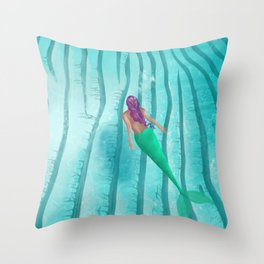 A Mermaid Swim Throw Pillow