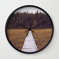 hiking Wall Clocks featuring Fall Hiking by Simon Laroche