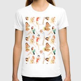 Vintage Tropical Hawaiian Pinup Girls T-shirt