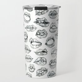 Cute Lips Sketches in Black Travel Mug