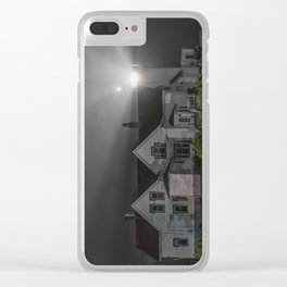Eastern point lighthouse on a foggy night Clear iPhone Case