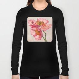 Like Light through Silk - peach / pink translucent poppy floral Long Sleeve T-shirt