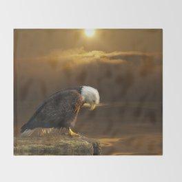 Gratitude - Bald Eagle At Prayer Throw Blanket