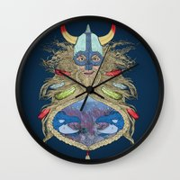 viking Wall Clocks featuring Viking by Sally Renshaw