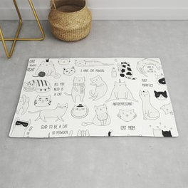 Cute Cat Doodles Cats Black and White Rug