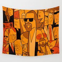 hats Wall Tapestries featuring The Big Lebowski by Ale Giorgini