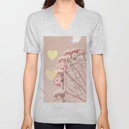 Ferris wheel nursery and heart bokeh on pale pink Unisex V-Neck