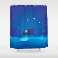 pirate ship Shower Curtains featuring pirate ship at the sea by mangulica