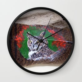 Great Horned Owl on a Feather Wall Clock