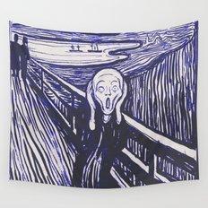 The Scream's Haze (dark blue) Wall Tapestry