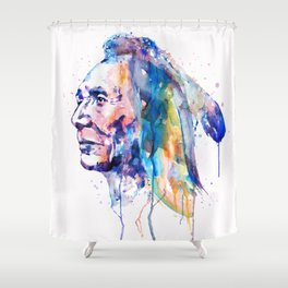 Sioux Warrior Watercolor Shower Curtain