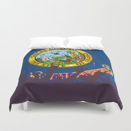 Idaho State Flag with Audience Duvet Cover