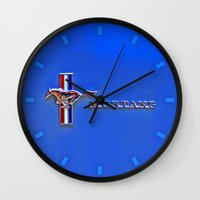 mustang Wall Clocks featuring Mustang by Barbo's Art