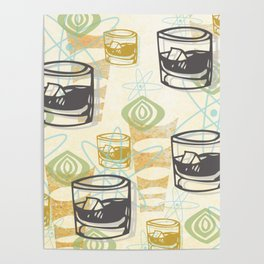 Dad Is Home Retro Midcentury Whiskey Pattern Poster