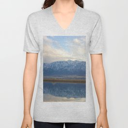 Utah Mountains Mirrored on the Water Unisex V-Neck
