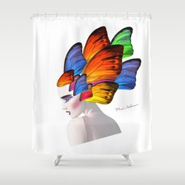 portrait, butterfly  Shower Curtain