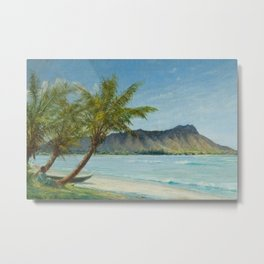 Waikiki Beach at First Sunlight tropical island landscape painting by D. Howard Hitchcock Metal Print