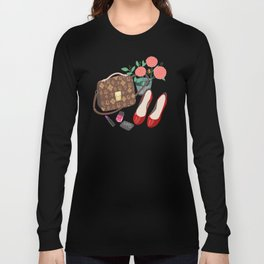 Classic Friday Night, bag, shoes, flower, make up, lipstick art print, girly illustration Long Sleeve T-shirt
