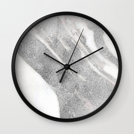 Marble - Silver Glitter on White Metallic Marble Pattern Wall Clock