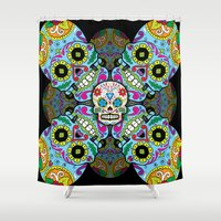 sugar skulls Shower Curtains featuring Sugar Skulls by Spooky Dooky