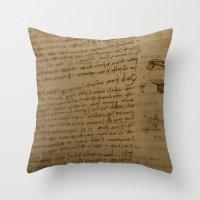 da vinci Throw Pillows featuring Da Vinci I by Megan