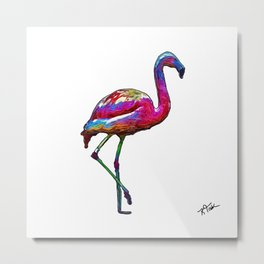 One Step At A Time Abstract Flamingo Metal Print