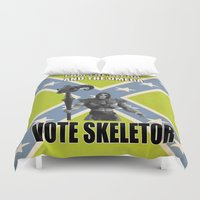 skeletor Duvet Covers featuring Vote Skeletor by Itomi Bhaa
