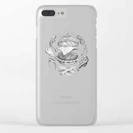 Burger Diagram (Black and White variant) Clear iPhone Case