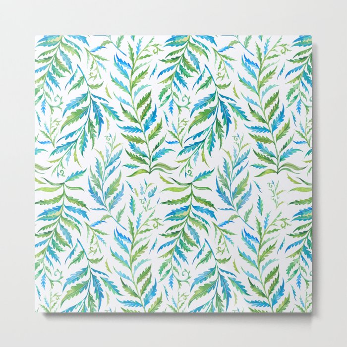 Leaves Green And Blue Metal Print